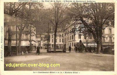 Poitiers, les hôtels de la gare, carte postale ancienne, 3, vus depuis la cour de la gare