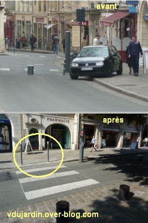 Poitiers, fin mai 2012, 1, contournement de borne place d'Armes
