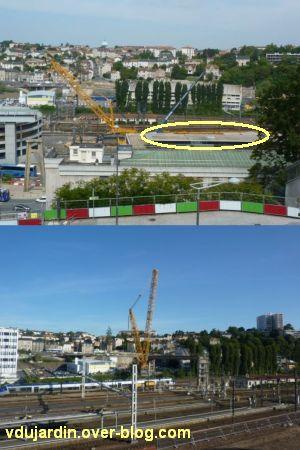 Poitiers, démontage de la grande passerelle, juin 2012, 1, déplacement de la grue