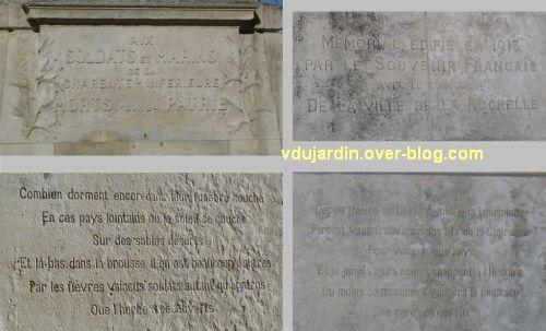 La Rochelle, monument aux soldats et marins, 3, dédicaces et textes