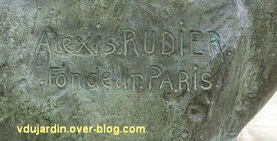 Herakles archer de Bourdelle à Toulouse, 04, signature de Rudier sur l'Herkule