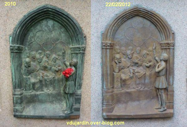 Poitiers, Jeanne d'Arc de real del Sarte, plaque avant et après sablage