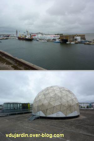 Saint-Nazaire 2012, 05, le toit panoramique, le bassin et le radar de la base sous-marine