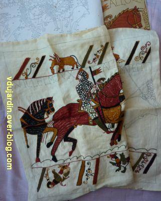 Achat à la brocante, août 2012, sac à ouvrage, 3, extrait de la tapisserie de Bayeux
