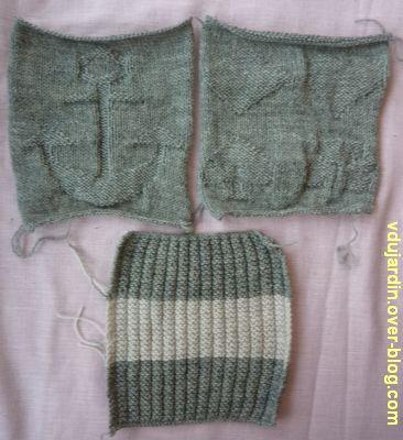 Un carré gris tricoté pour Brigitte : les trois carrés
