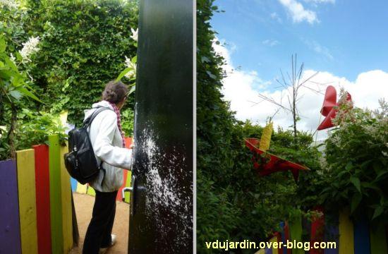 Chaumont-sur-Loire, festival des jardins 2012, jardin 18, 2, palissades colorées et plantes