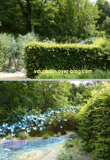 Chaumont-sur-Loire, festival des jardins 2012, jardin 2, 1, entrée et papillons bleus