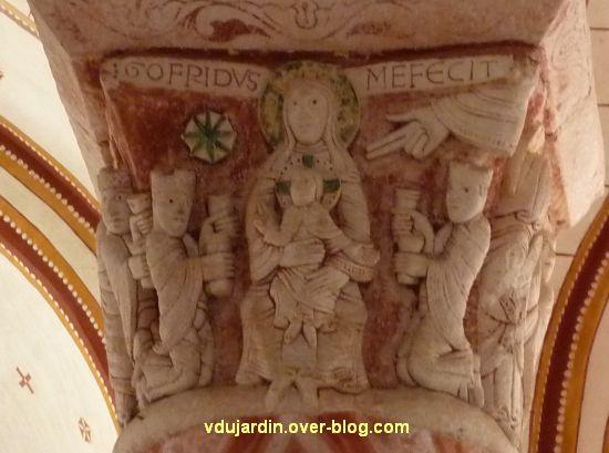Chauvigny, église Saint-Pierre, chapiteau de l'Enfance, 04, Adoration des mages