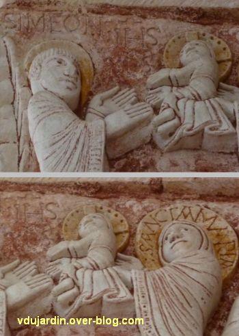 Chauvigny, église Saint-Pierre, chapiteau de l'Enfance, 08, Siméon et le Christ
