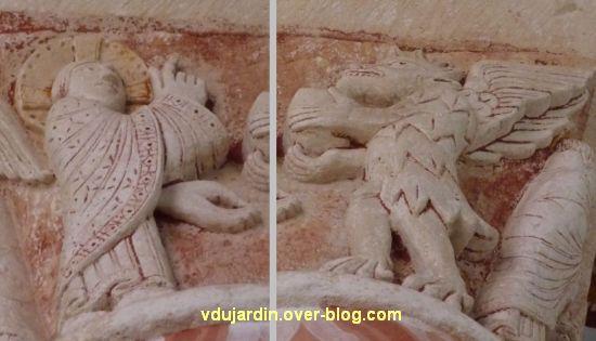 Chauvigny, église Saint-Pierre, chapiteau de l'Enfance, 10, le Christ et le diable du désert