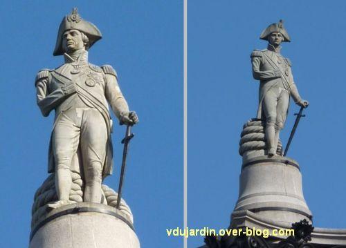 Colonne de Nelson à Trafalgar Square, Londres, 03, deux vues de Nelson