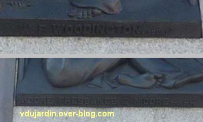 Colonne de Nelson à Trafalgar Square, Londres, 06, la signature Woodington et marque des fondeurs