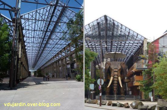 L'ouest de l'île de Nantes 2012, 01, la galerie des machines avec et sans l'éléphant