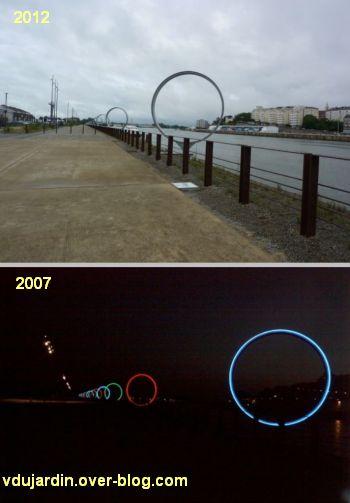 L'ouest de l'île de Nantes 2012, 12, les anneaux de Buren et Bouchain (jour en 2012, nuit en 2007)