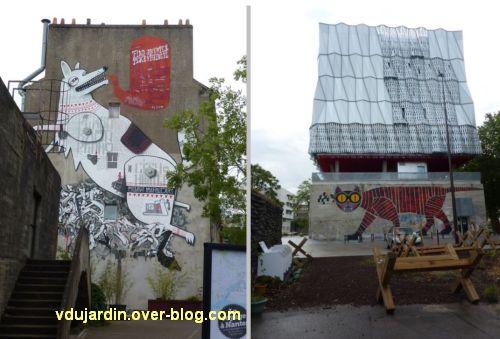Nantes, art dans la rue, 01, sur l'île, oeuvres de Persu, Rame, Pedro et Kazy-k