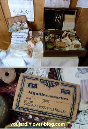 Saint-Laurent-en-Grandvaux, exposition 2012, 4, matériel de couture et aiguilles pour yeux faibles