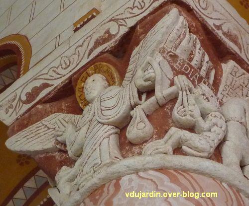 Chauvigny, église Saint-Pierre, chapiteau de l'Apocalypse, 08, la pesée des âmes