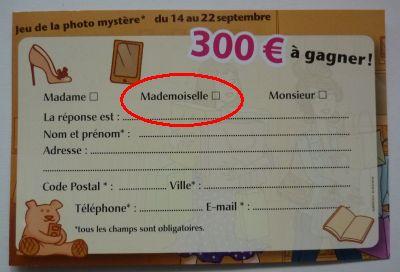 Jeu des Cordeliers à Poitiers, septembre 2012, avec la case Mademoiselle