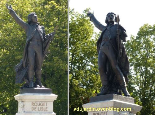 Lons-le-Saunier, monument à Rouget-de-l'Isle, 06, deux vues de face