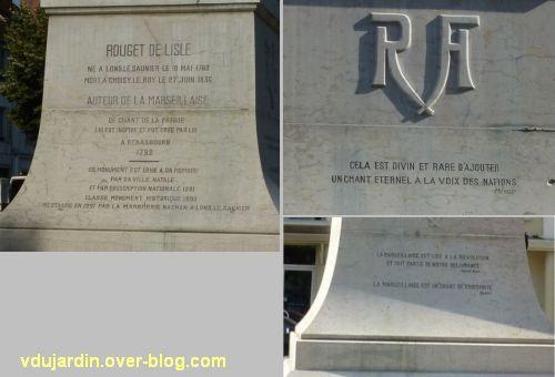Lons-le-Saunier, monument à Rouget-de-l'Isle, 03, les textes sur le socle