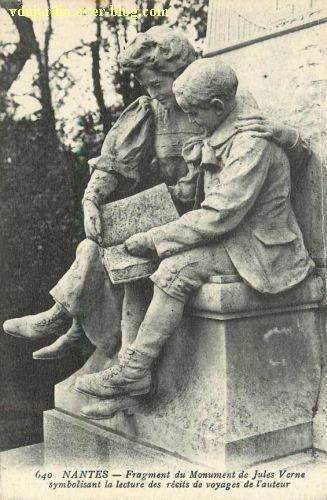 Jules Verne au jardin des plantes de Nantes, 6, carte postale ancienne, les enfants