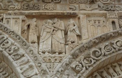 Façade de Notre-Dame-la-Grande à Poitiers, la Visitation, vue générale de la scène