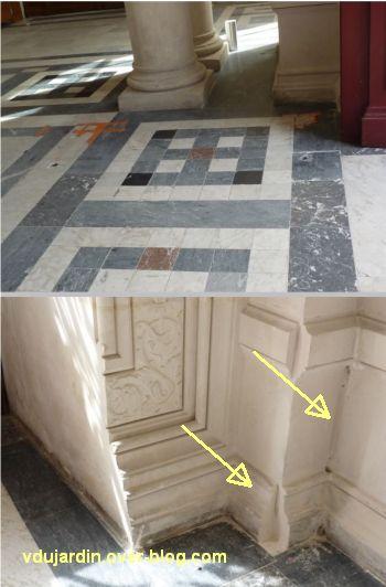 Poitiers, septembre 2012, 02, dans le hall de l'hôtel de ville, carrelage et moulures cassées