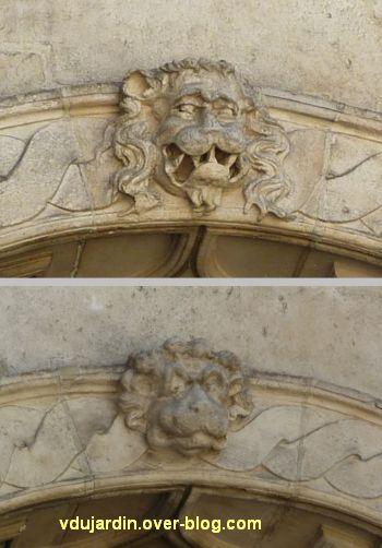 La Rochelle, maison Henri II, 06, les clefs des arcs avec têtes animales
