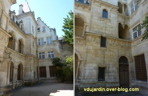 La Rochelle, maison Henri II, 10, l'escalier et le corps de bâtiment droit