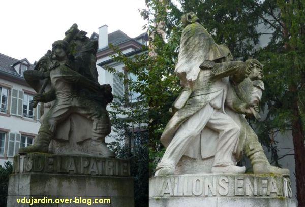 Strasbourg, monument à la Marseillaise, 2, deux vues de côté