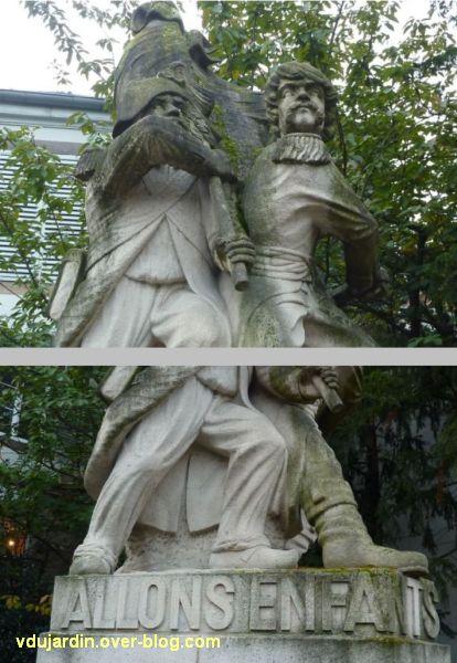 Strasbourg, monument à la Marseillaise, 3, deux détails, les têtes et les pieds