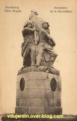 Strasbourg, le monument à la Marseillaise, carte postale ancienne