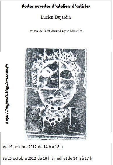 Flyer pour l'ouverture de l'atelier d'artiste de Lucien Dujardin