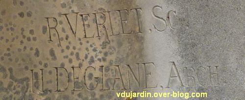 Angoulême, monument à Sadi Carnot, 3, signatures de Verlet sculpteur et Deglane architecte