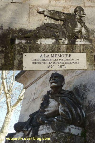 Cahors, monument aux mobiles du Lot (morts de 1870), 3, deux vues du gisant