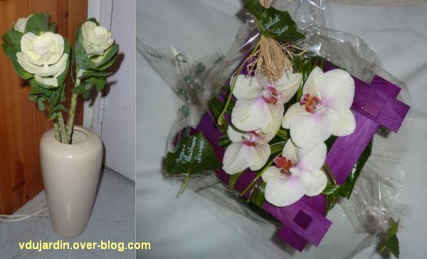 Un bouquet de choux et un bouquet d'orchidées