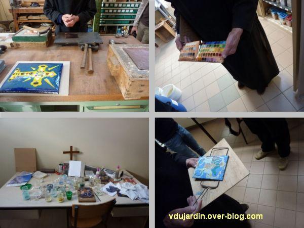 Abbaye de Ligugé, quatre vues dans l'atelier d'émaillerie