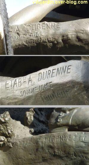 Limoges, monument aux morts de 1870, 2, les trois marques du fondeur Durenne