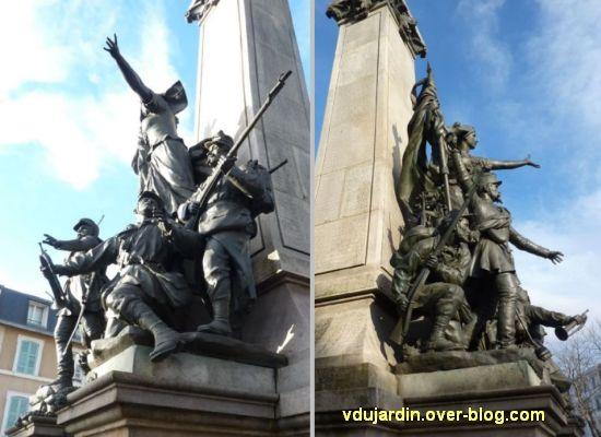 Limoges, monument aux morts de 1870, 9, deux vues de côté