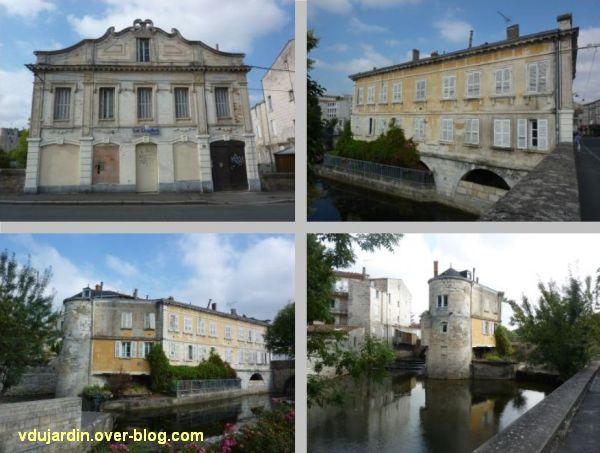Niort, les bains Juin, 2, assemblage de quatre vues, la façade et les élévations sur la Sèvre
