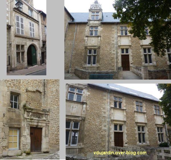 Poitiers, hôtel Berthelot, 1, façades sur rue et sur cour