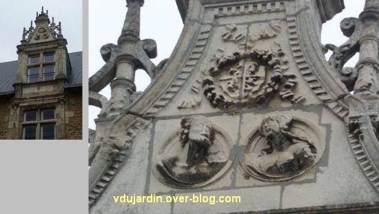 Poitiers, hôtel Berthelot, 2, lucarne et détail des portraits