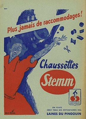 Publicité des Cahiers de l'ouest en 1956 pour des chaussettes inusables...