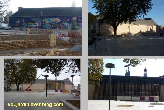 Poitiers, square de la République, du mur peint aux piquets