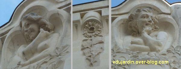 L'Alcazar à Angers, 5, sculptures de la façade gauche
