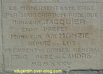 Cahors, monument aux morts de 1914-1918, 2, dédicace