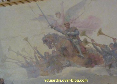Poitiers, plafond de la salle des fêtes de l'hôtel de ville, 3, Du Guesclin à la tête de ses troupes