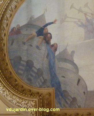 Poitiers, plafond de la salle des fêtes de l'hôtel de ville, 4, Poitevins sur les remparts, à gauche