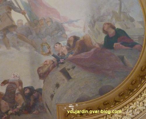 Poitiers, plafond de la salle des fêtes de l'hôtel de ville, 5, Poitevins sur les remparts, à droite