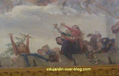 Poitiers, plafond de la salle des fêtes de l'hôtel de ville, 6, Poitevins sur les remparts, au centr
